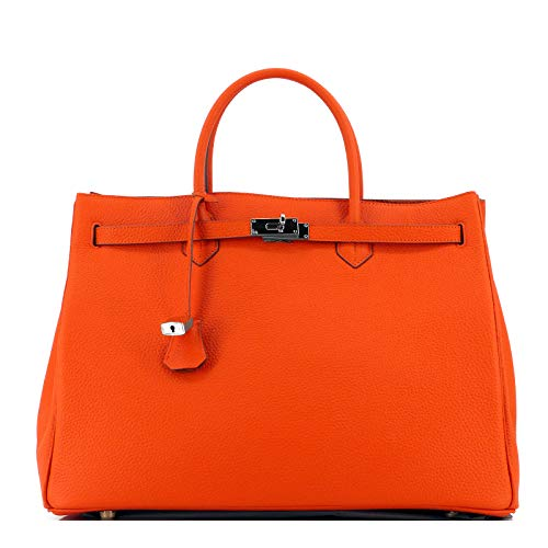 Rouven STUDIO.MUNET Leder Handtasche Shopper Business Tasche/Icone 40 Tote Bag/groß / 40x29x21 cm/Turmeric Orange & Silber (Birkin Bag)