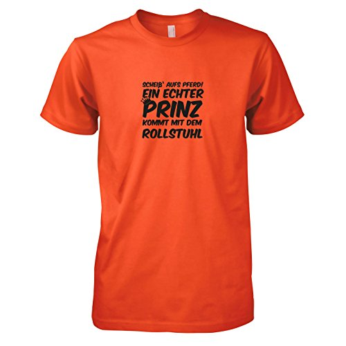 TEXLAB - Ein echter Prinz kommt mit dem Rollstuhl - Herren T-Shirt, Größe XL, orange