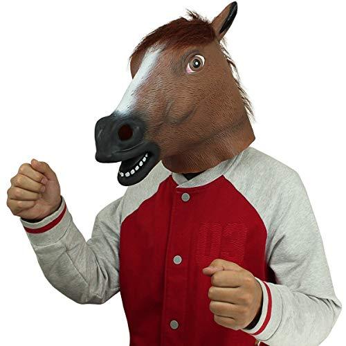 (Pferdmaske,Latex Tiermaske Pferdekopf Pferdemaske Pferd Kostüm für Halloween Weihnachten Party Dekoration (Braun Pferd))