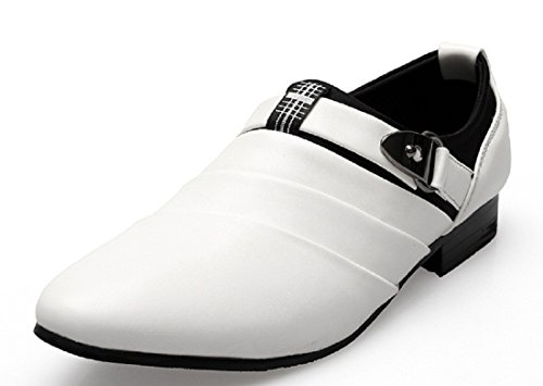 Men's British Style Slip On Leather Oxfords Shoes white