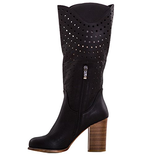 Toocool - Stivali donna scarpe texani traforati estivi tacco 9 Queen Helena nuovi QH16038 Nero