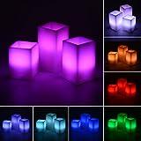 Lanlan 12Farben mit 18Schlüssel Fernbedienung und 4Stunden oder 8Stunden Timer Funktion ca. 12,7cm hoch 3verpackt LED Flammenlose Stumpenkerze Licht mit Paraffin Körper Echtwachs Kerze Lampe