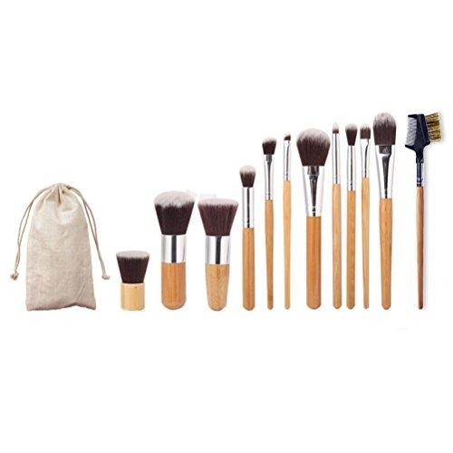 Susenstone 1PC Sourcil peigne brosse + 11 PCS Cosmétique Maquillage Pinceaux Trousse de Maquillage + 1 PC String