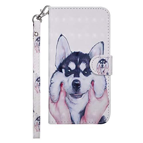 Phone 5C, Reflektierend Flip PU Leder Handy Schutzhülle mit Brieftasche Kartenfach Standfunktion, Husky ()