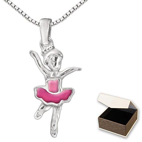 CLEVER SCHMUCK-SET Silberner Anhänger kleine Ballerina 16 mm pink und rosa lackiert sowie Kette Venezia 38 cm STERLING SILBER 925 für Kinder im Etui