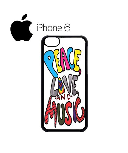 Peace Love and Music Cool Swag Mobile Phone Case Back Cover Hülle Weiß Schwarz for iPhone 6 Black Weiß