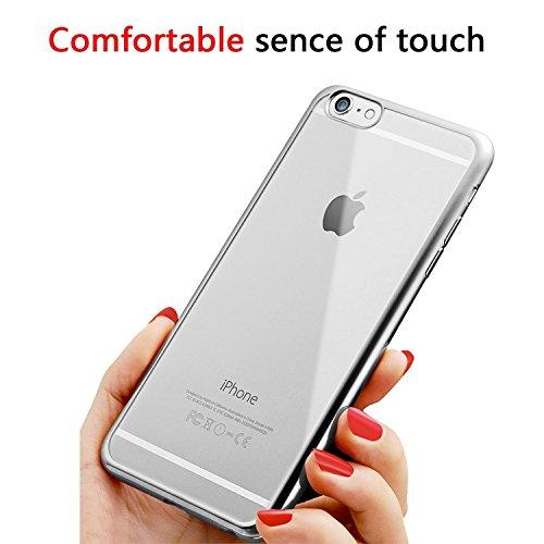 Iphone 6 Hülle, weiche TPU Silkon Schutzhülle mit der Grenze von der Farbe der Galvanik, für Iphone 6 6s Hülle -- Silber Silver