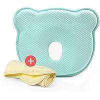 Cuscino per modellare la testa del bambino, cuscino poggiatesta per neonato - traspirante cuscino gomma piuma di memoria per dormire Infant protettiva cuscino con federa in cotone organico - previene la sindrome della testa piatta o plagiocefalia