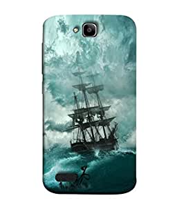 PrintVisa Designer Back Case Cover for Huawei Honor Holly (Sky Clouds Rainy Wind Thunders Sinking Green)