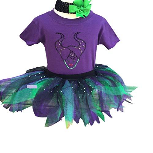 Maleficent Villian Inspired Sparkle Baby Grow & Tutu Skirt Set (2-3 Yrs)