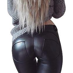 MAGIMODAC Mujer Pu Leggings Leggins Cuero Sintetico Skinny Elásticos Pantalones Negro Push up 34 36 38 40 42 44 46 48 50 (negro, EU 38/(Asian L))