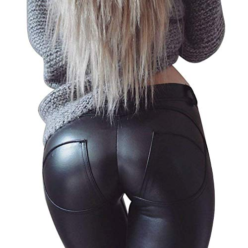 MAGIMODAC Mujer Pu Leggings Leggins Cuero Sintetico Skinny Elásticos Pantalones Negro Push up 34 36 38 40 42 44 46 48 50 (negro, EU 42/(Asian XXL))