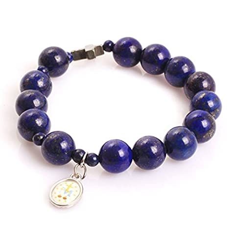 Mala Anglican Muslim Catholic Christian Episcopal Prayer Rosary Beads Bracelet for Men 7'' Handmade (Lapis lazuli/10MM)