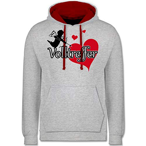 Shirtracer Valentinstag - Volltreffer - XXL - Grau meliert/Rot - JH003 - Kontrast Hoodie (Rot Cupid Kostüm)