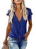 FIYOTE Damen Blusen Elegante Oberteile V-Ausschnitt Tops Chiffon Hemd Kurzarm T-Shirts (EU42-EU44) Blau