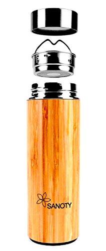 Thermos Design en bois | by Sanoty | Mug Isotherme 450 ml - Théière en Bambou - Maintient la Température – Bouteille en Acier Inoxidable et Bambou – Solide – Gobelet à Infusion - Qualité Professionnelle - Haute conservation de la chaleur - Infuseur pour thé/tisanes