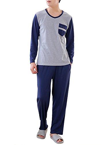 Aibrou Mens Cotton Pajamas Mens Loungewear Set Cotton Sleepwear Set Full Length Gents New Styles For All Seasons
