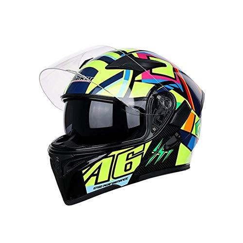 HEATOOX Creativo di Corsa alla Moda Casco del Motociclo di personalità Professionale del Fronte Pieno Casco della Motocicletta Unisex Vibrazione di Crash modulare con Doppia Visiera Vent Regolab