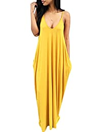 Ninimour Women V Neck Sleeveless Casual Pocket Elegant Maxi Dresses