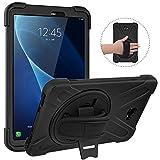 MoKo - Funda para Samsung Galaxy Tab A 10.1, Protección Antivibración Funda Resistente con Soporte Giratorio de 360 grados y Correa de Mano, Negro