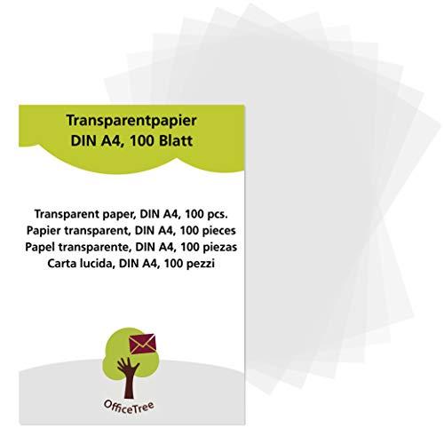 OfficeTree Transparentpapier 100 Blatt DIN A4 - zum Zeichnen, Basteln, Gestalten edler Hochzeitseinladungen, Speisekarten oder Gutscheine - beidseitig bedruckbar (Laterne Karte Mit)