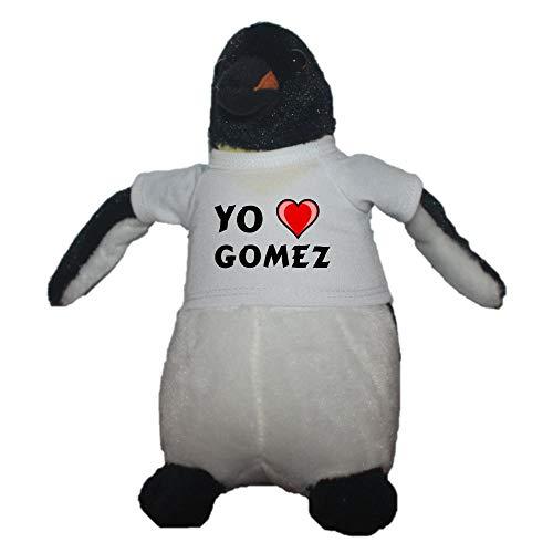 Shopzeus Pingüino personalizado de peluche (juguete) con Amo Gomez en la camiseta (nombre de pila/apellido/apodo)