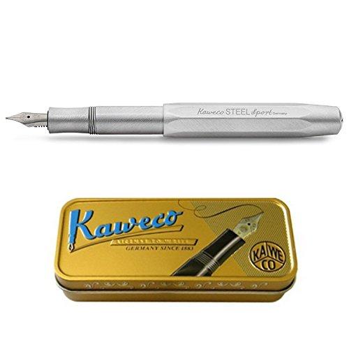 Kaweco Füllfederhalter Steel Sport mit 23 KT vergoldeter Stahlfeder und Iridiumspitze für Tintenpatronen I Kaweco Sport Füller 13,5 cm Federbreite: M (Medium)