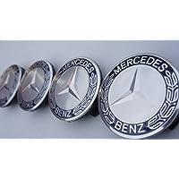 Juego de 4azul oscuro–Mercedes-Benz Llantas de aleación Centro Tapacubos (tamaño: 75mm)