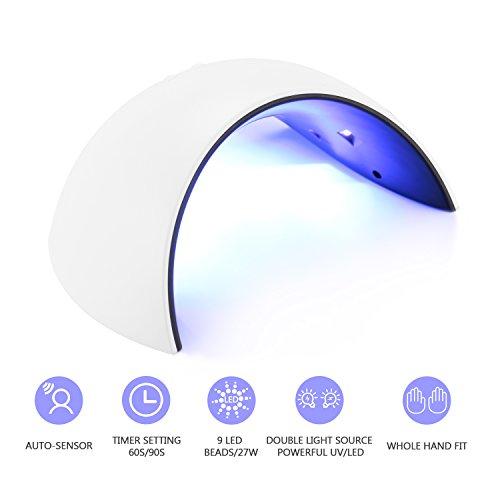 Lámpara de Uñas,JBSON 27W UV LED Lámpara Secador de Uñas Gel con Temporizador 60S/90S y Sensor Automático para Uñas