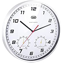 Trevi 3321-Reloj de pared grande con marco de aluminio de 35 cm,maquinaria de cuarzo de funcionamiento silencioso,medidor de temperatura y humedad