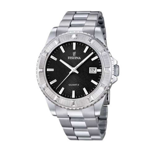 Festina Unisex Quartz Watch with Black Dial Analogue Display and Silver Stainless Steel Bracelet F16684/5