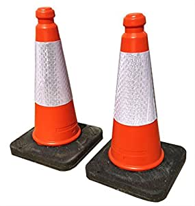 TRAFFIC CONES - Pair, Highwayman cones with reflective strips and weighted bases. Height : 500mm