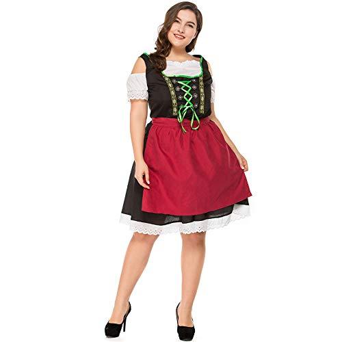 GIFT ZHIZHUXIA Traditionelle bayerische Tracht der Frauen Bierfest Wench Kostüm Oktoberfest Kleid Plus Size Erwachsene Weihnachtsfeier Kleid Requisiten (Farbe : Photo Color, größe : L)