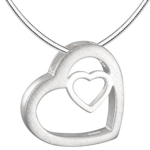 Vinani Anhänger Herz in Herz mit Schlangenkette 42 cm Sterling Silber 925 Kette Italien AHR42