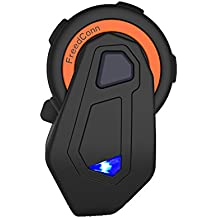 FreedConn Full Duplex Casco de la motocicleta Intercom Intercom Bluetooth T-MAX Sistema de comunicación de la motocicleta Manos libres Casco inalámbrico Interphone de Bluetooth (Lograr 6 miembros Conexión simultánea, 1500M Rango, Radio FM, Propmt de voz, IP65 a prueba de agua)