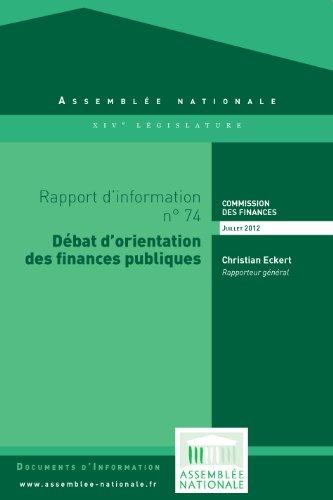 Couverture du livre Rapport d'information préalable au débat d'orientation des finances publiques