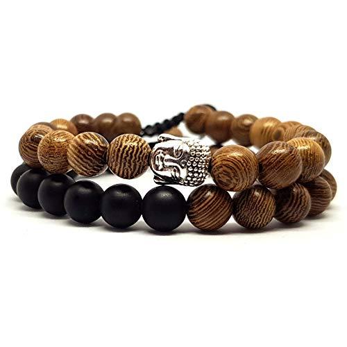 KARDINAL.WEIST Holz Perlenarmband geflochten mit Buddha-Kopf Perle, Yoga-Schmuck für Damen und Herren, Energie Armband (2 - Partnerarmband)