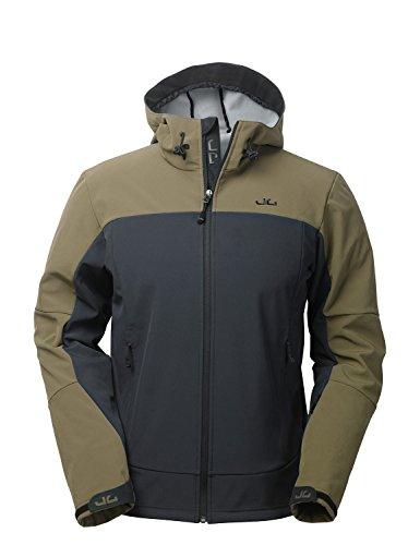 Jeff Green Herren Winddichte Wasserabweisende Atmungsaktive Softshell Jacke Kapuze Calais, Größe - Herren:56, Farbe:Dark Olive