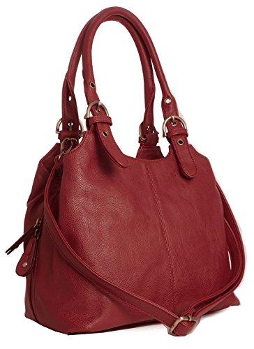 BHSL Mehrfachtaschen Mittlere Größe Umhängetasche - Mit Branded Schutztasche und Charm 27x24x12 cm (BxHxT) Red - 2