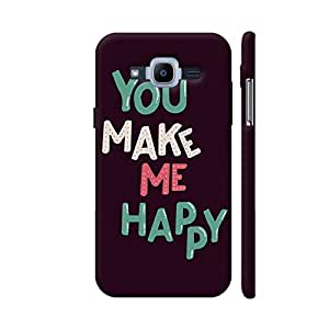 Colorpur Samsung J2 (2016) Cover - You Make Me Happy On Black Printed Back Case