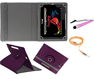 Gadget Decor (TM) PU LEATHER Rotating 360° Flip Case Cover With Stand For Datawind 7D + Stylus Capacitive Pen + Free Aux Cable -Purple