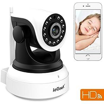 ieGeek 720p HD Videosorveglianza CCTV Camera IP Telecamera con tecnologia senza fili Wi-Fi, funzionalità audio a doppia via, facile configurazione tramite APP dedicate, sensore di movimento, visualizzazione da remoto, Pan/Tilt, 3DB antenna