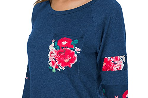 Casual Maglietta Autunno Invernale Felpa Oversize Sportiva Camicetta Maglia maniche lunghe T Shirt blu-A