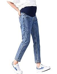 cbe683e9133f Primavera Estate Jeans Strappati Elasticizzati Donna Pantaloni Premaman  Regolabili Jeans Denim Premaman Pantaloni da Leggings Premaman