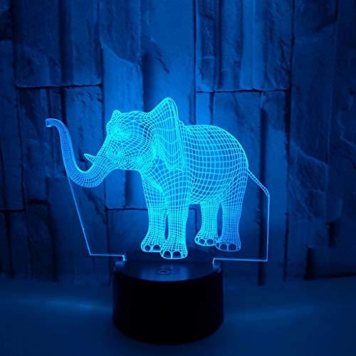 Kleine Nachtlicht USB-Sockel des Elefanten 3D bunte LED Acryl-Panel-Fern- / Berührungs-3D-Stereo-Vision stilvolle kreative Kinderzimmer kleine Tischlampe (größe : Touch) (Fern-panel)