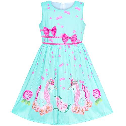 Sunboree Mädchen Kleid Grün Einhorn Blume Sommer Trägerkleid Gr. 128-134 (Kleider Mädchen Ostern)