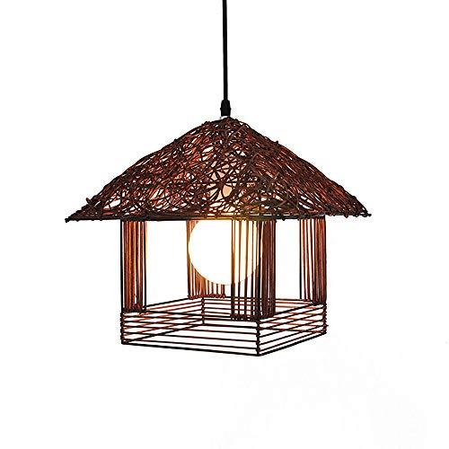 HHCC Restaurant Deckenlampe Moderne Persönlichkeits-Hütte Rattan Kronleuchter Bambus-Decke leuchtet Wohnzimmer Schlafzimmer Zimmer Gang-Küche kreative Beleuchtung E27 Lampenbasis,Brown