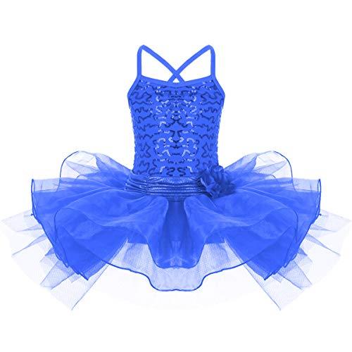 ettkleid Kinder Pailletten Ballettanzug Ärmellose Tütü Röckchen Tanz Kostüm 7-8 Jahre Königsblau ()