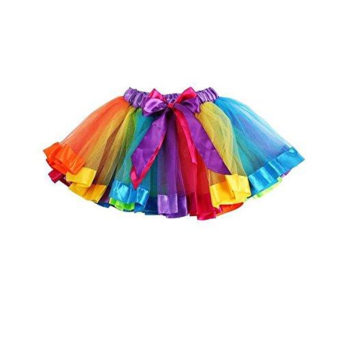 CuteOn Ragazze Layered Rainbow Tutu Pannello Esterno di Ballo del Partito di rave balletto ballo Ruffle Tiered Tutu Skirt Arcobaleno 120cm(L)