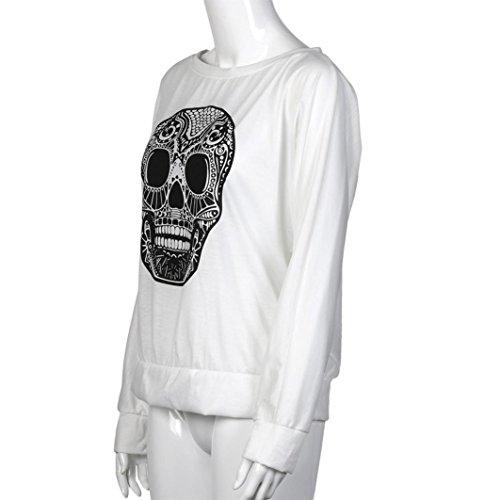 BZLine - Femme T-shirt 'Dessin Crâne de mort' Imprimé - en Coton Mélangé - Manche Longue Blanc